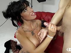 brunette, blowjob, riding, tattoo, milf, reverse cowgirl, threesome, cowgirl, mmf, seduction