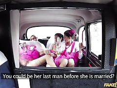 Bride swallows cum in the back seat of a taxi