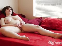 Busty raven masturbating