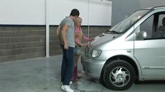 Sweet francesca shares a cock in a the back seat of a car