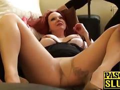 Stunning redhead mom with big tits smashing her pussyhole