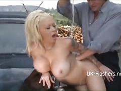 Bikini carwash of busty blonde turns into lesbian kissing and hardcore sex