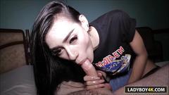 Sexy thai ladyboy ally gives blowjob