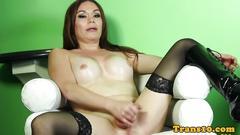 Stockinged tranny solo wanking her cock