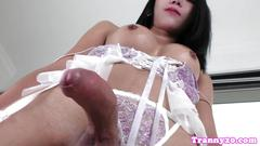 Lingerie ladyboy pulling her cock solo