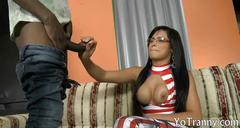 Huge hooters tranny gets her anal rammed by black dude