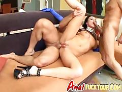 Lucky chick gets ass and mouth filled in threesome