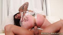 Busty tattoo bride fucked
