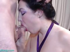 Amateur fucked in wild gangbang