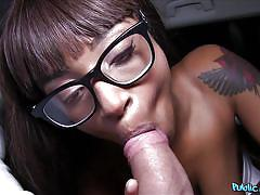 Ebony street walker sucks my cock for cash