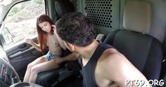 Handsome driver wants to fuck this sweetie in the car