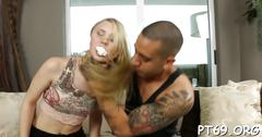 Inked latino hunk fucks this blonde darling with so much passion