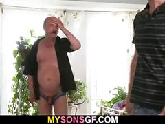 He leaves and old dad licks and fucks his gf pussy