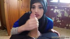 Amateur arab babe gets down on her knees to suck a dick