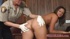 Lesbian guard fingers her prisoner