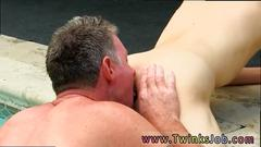 Young twink sucking on old men penis and gay emo boy twinks cum shots daddy brett obliges