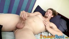 Twink hunk strokes his cock and tastes his milky product