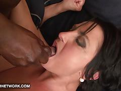 Mature double penetrated by big black cocks