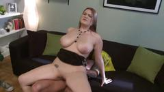 Busty cassandra chocks her throat with a hard penis get it slam her cunt hard