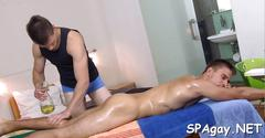 Oiled up gay hunk gets rammed by his well hung masseur