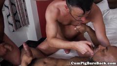 Bareback anal trio with guys pounding butt
