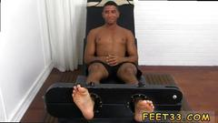 Gay foot posing mikey tickle d in the tickle chair