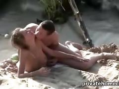 Hot blonde fucks on the beach.