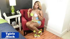 Busty black tgirl shaking ass and tugging