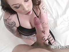 brunette, blowjob, hardcore, big tits, tattoo, cumshot, blonde, busty, shaved, stockings, pov
