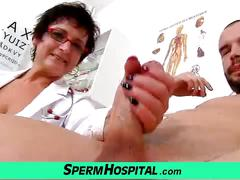 Clinic exam and wank-job from euro big tits cougar greta