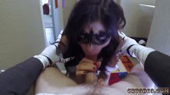 Teen uses vibrator for first time squirt xxx swalloween fun