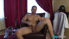 Good looking twink libe race caresses his long fat dick solo