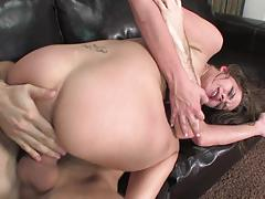 brunette, blowjob, riding, hardcore, babe, pornstar, couch, cowgirl, gagging