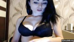 Brunette flashing tits on cam  sexy babe home alone