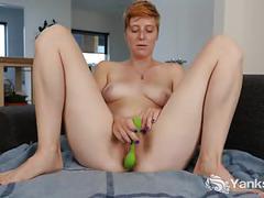 Redhead aurora toying her snatch