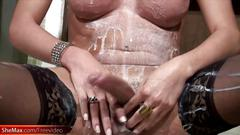 Latina tranny gets her boobs and bubble ass bathed in milk