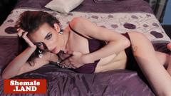 Glam lingerie tgirl tugging her cock