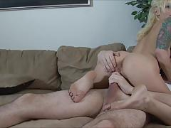 Hot blonde girl sucks white cock