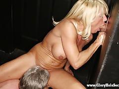 Dirty blonde milf sucks off strangers