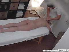 Fucked by a big cock on the massage table