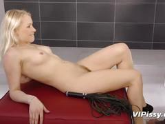 Submissive blonde always smiles as i piss all over her beautiful face and body