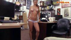 Beautiful waitress railed by pawn dude at the pawnshop