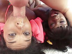 Spunk guzzling ebony babes ana foxxx and megan vaughn