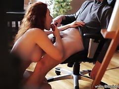 Hot redhead in lingerie blowjob