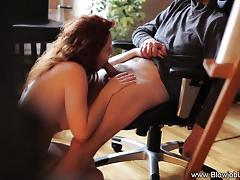 Hot redhead in lingerie blowjob