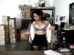 Horny ebony babe at the office @ big tit office chicks