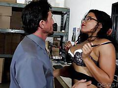big tits, babe, ebony, interracial, office, blowjob, titjob, from behind, devils film, fame digital, tommy gunn, quinn quest