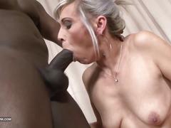 Black and white - bbc cum drinking slut likes big black cock
