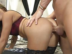 Mena li hammers her man with strapon dildo