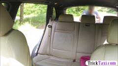 Tight blonde babe sucks off and railed in the backseat